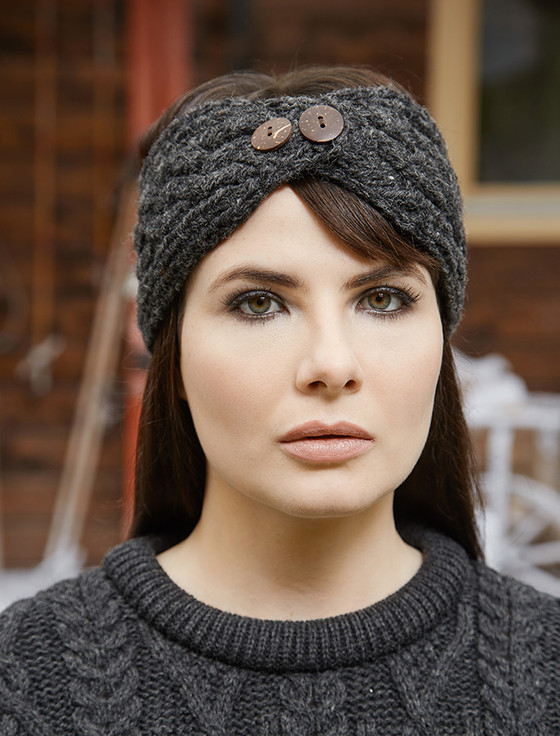 Fleece Lined Aran Headband with Buttons