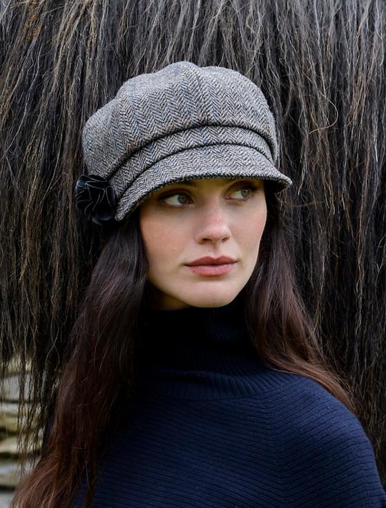 Ladies Tweed Newsboy Hat - Grey with Tan