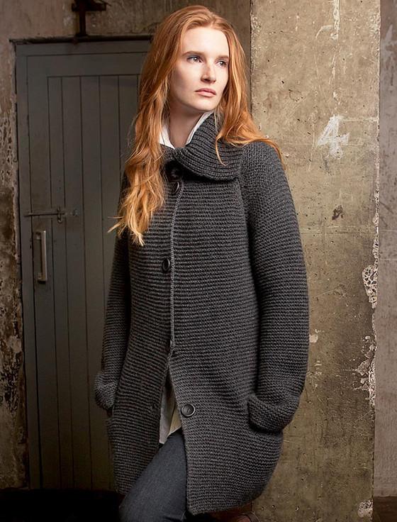 Premium Extra Fine Merino Wool Ribbed Collar Cardigan - Charcoal