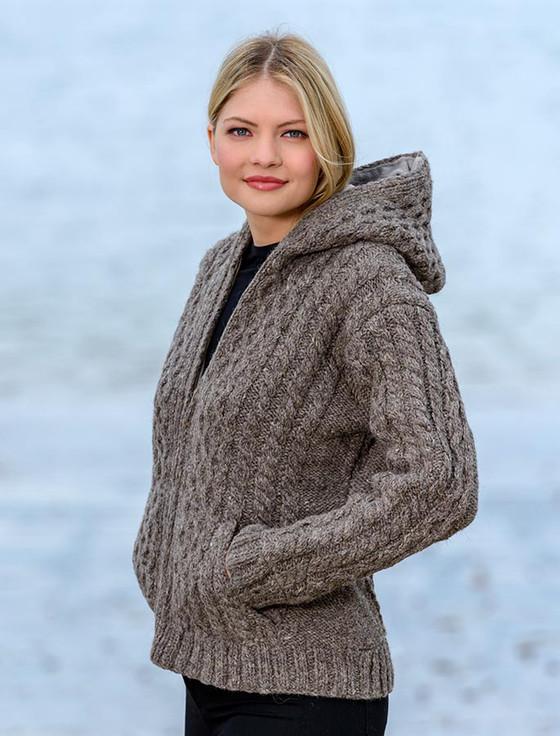 Handknit Fleece Lined Hooded Cardigan - Brown