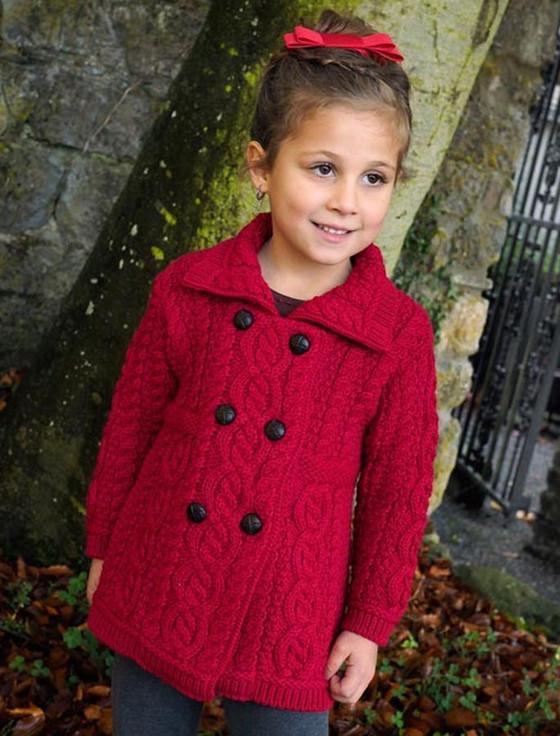 Kid's Double Breasted Aran Merino Cardigan - Garnet