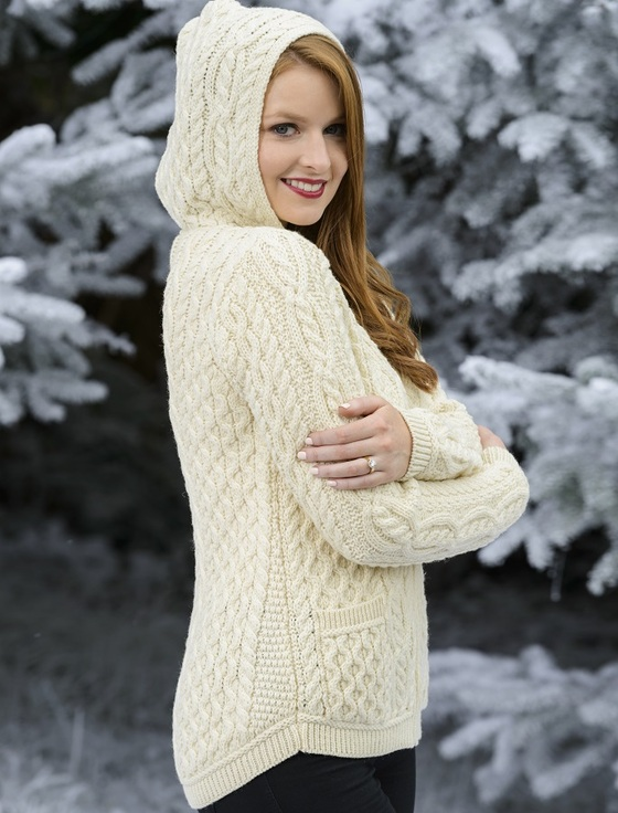 Cable Knit Hoodie with Celtic Knot Zipper Pull - White
