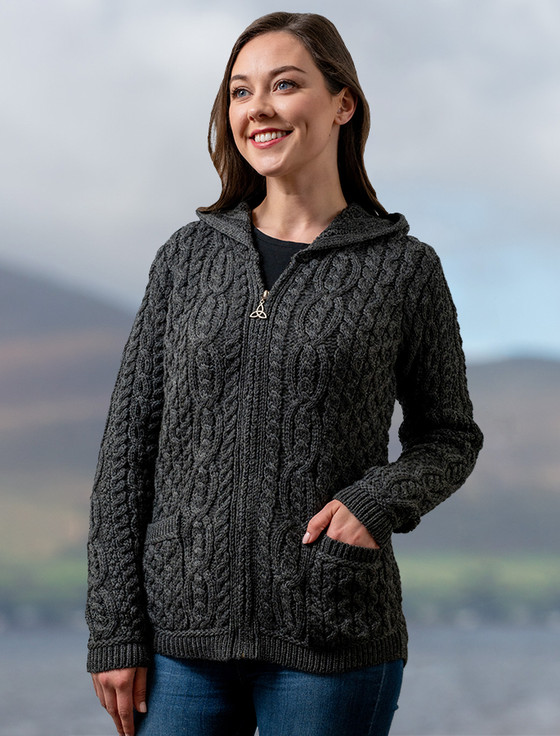 Cable Knit Hoodie with Celtic Knot Zipper Pull - Charcoal