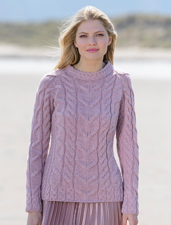 Cable Knit Aran - Winter Rose