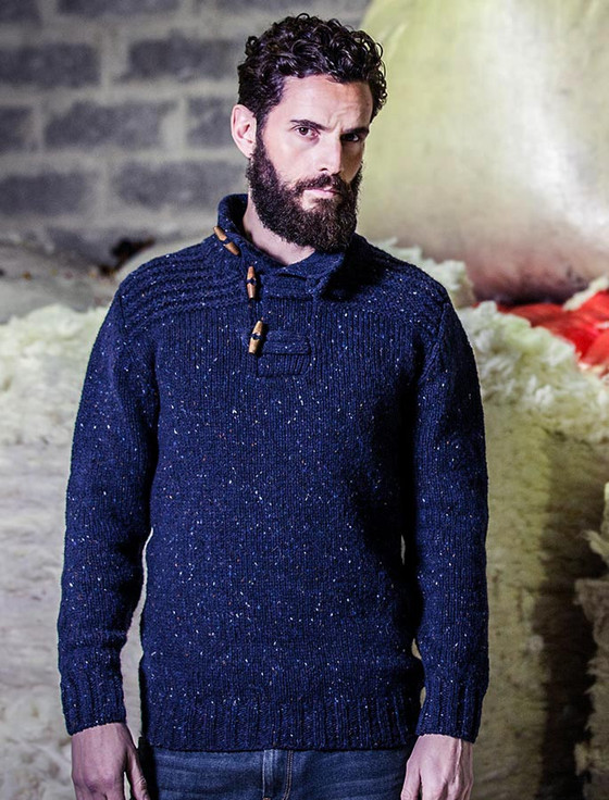 Wool Sweater with Ribbed Shoulders and Toggles - Navy
