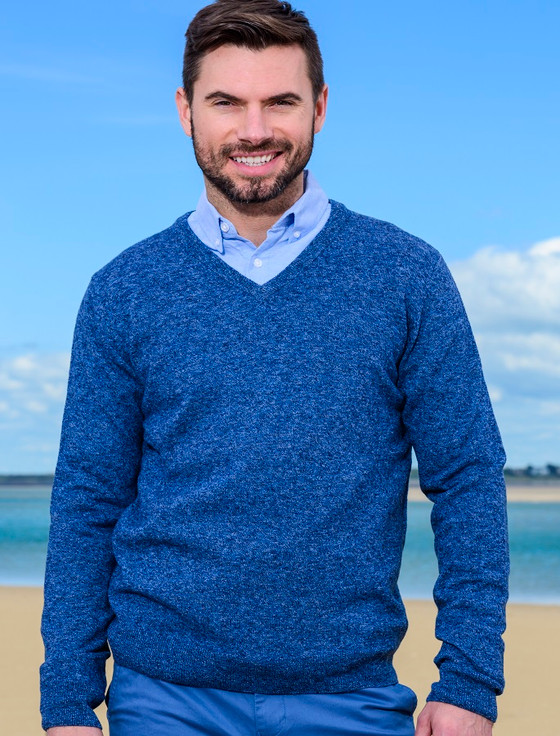 Mens Lambswool V-Neck Sweater - Ink