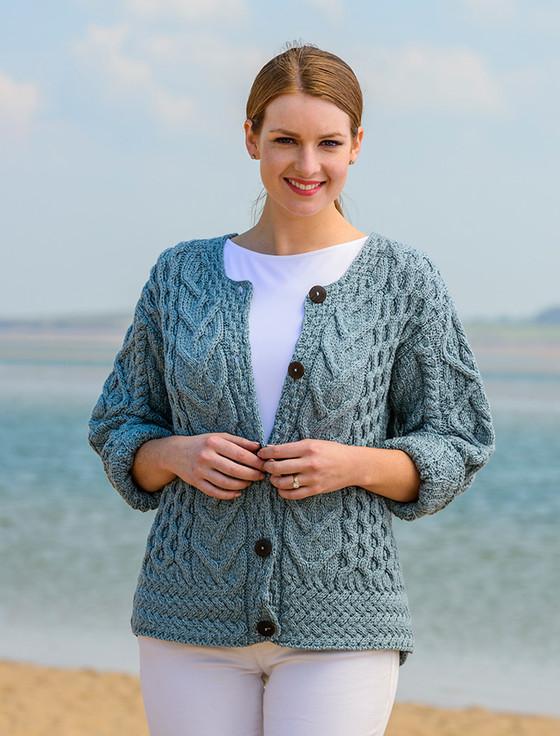 Aran Cable Knit Cardigan - Mist Marl