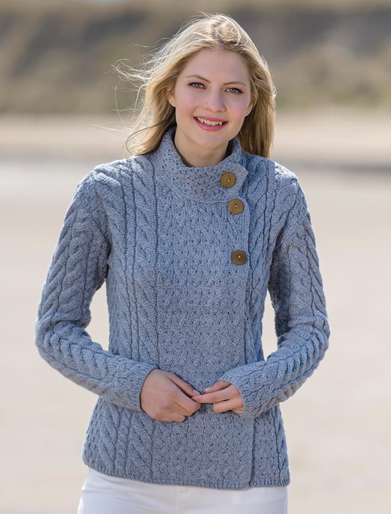 Super Soft Trellis and Cable Cardigan - Ocean Grey