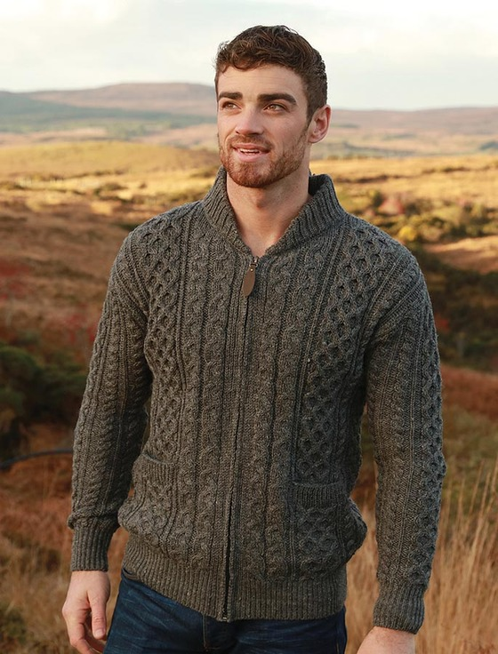 Aran Zip Cable Knit Cardigan with Collar - Grey Welsh