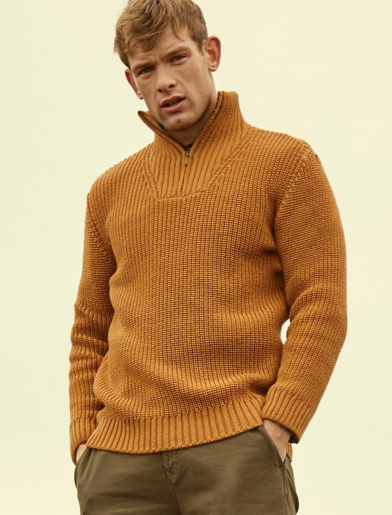 Ribbed Merino Troyer - Golden Ochre