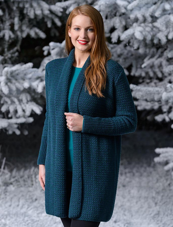 Textured Merino Cardigan - Atlantic