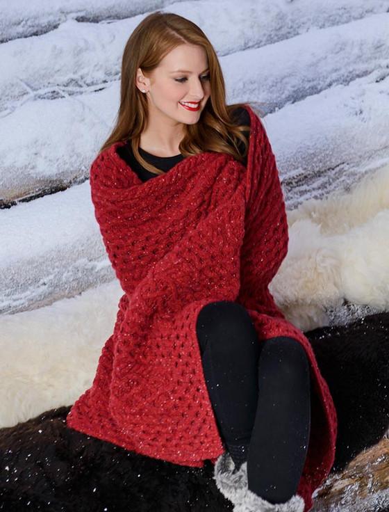 Wool Cashmere Aran Throw - Red