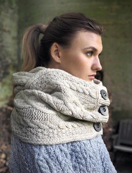 Super Soft Aran Snood with Buttons - Beige