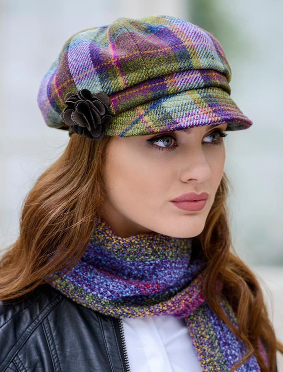 Ladies Tweed Newsboy Hat - Multi Vernal Plaid