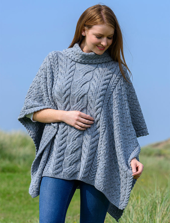 Super Soft Cowl Neck Poncho - Ocean Grey