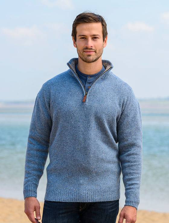Donegal Blend Zip Neck Sweater - Boathouse Blue