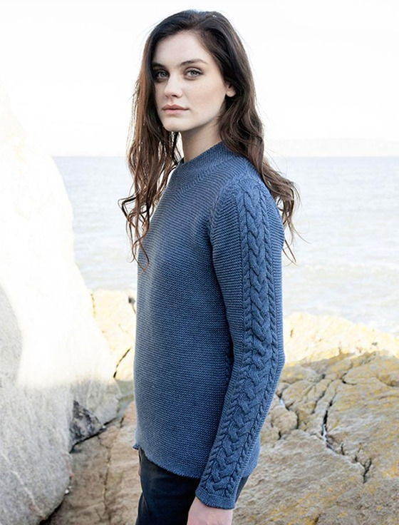 Luxury Fine Wool Aran Sweater - Blue Wave