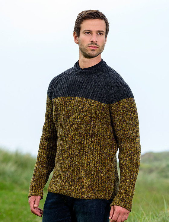 Wool Cashmere Two Tone Crew Neck - Bumblebee