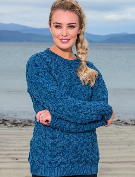 Women's Super Soft Aran Crew Neck Sweater - Irish Sea