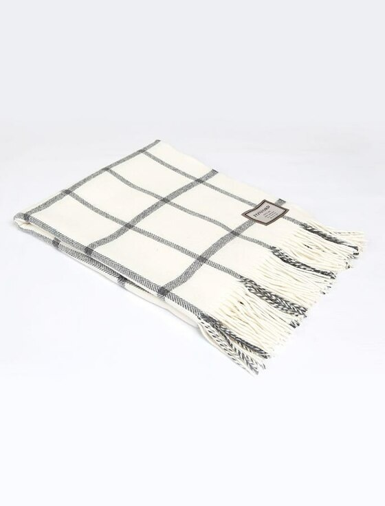 Lambswool Throw - Charcoal White Windowpane