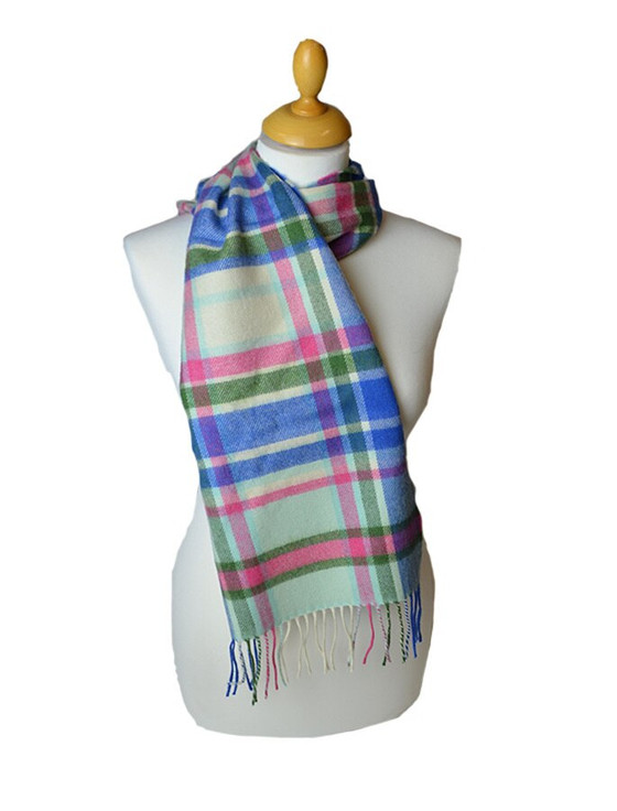 Merino Scarf - Blue and Green Pinstripe