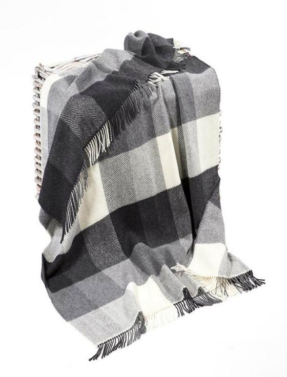 Cashmere Wool Throw - Black White Grey