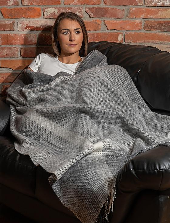 Cashmere Wool Throw - Tonal Grey