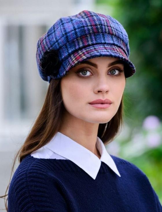 Ladies Tweed Newsboy Hat - Camel/Red/Blue