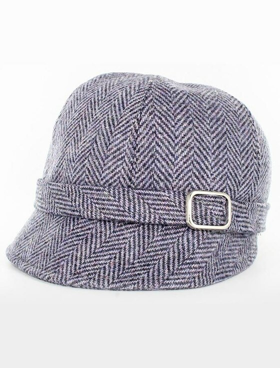 Ladies Tweed Flapper Cap - Lilac