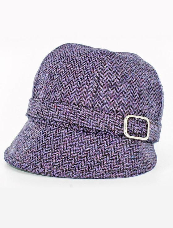 Ladies Tweed Flapper Cap - Purple