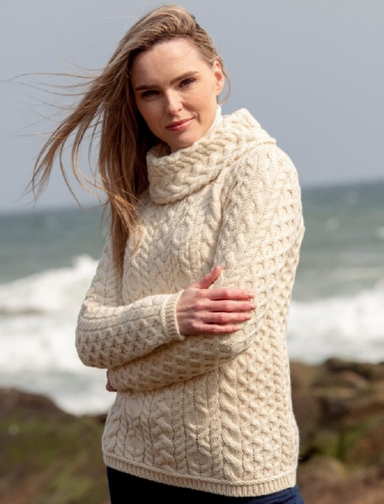 Ladies Cowl Neck Aran Sweater - Natural White