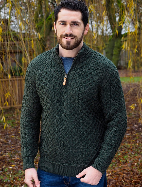 Mens Super Soft Half Zip Aran Sweater - Army Green
