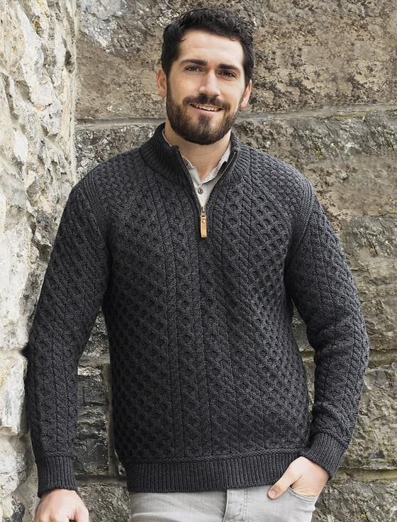 Mens Super Soft Half Zip Aran Sweater - Charcoal