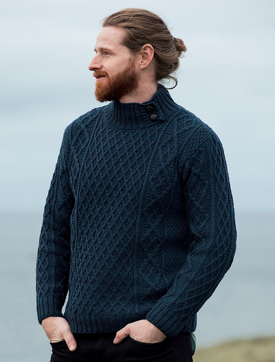 Mens Merino Aran Button Collar Sweater - Atlantic