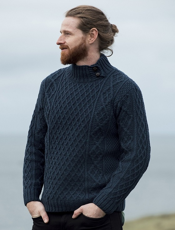 Mens Merino Aran Button Collar Sweater - Atlantic