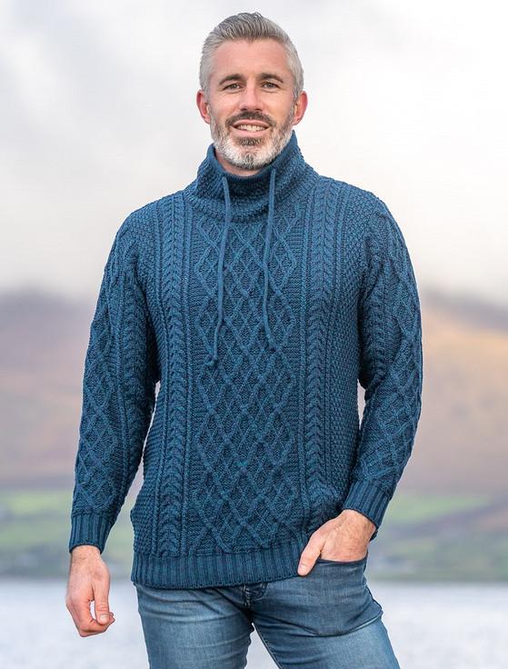 Mens Drawcord Collar Aran Sweater