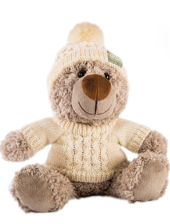 Teddy Bear In Aran Sweater & Bobble Hat