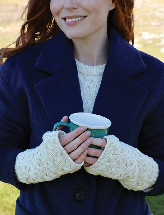 Super Soft Long Fingerless Mittens - Classic Aran