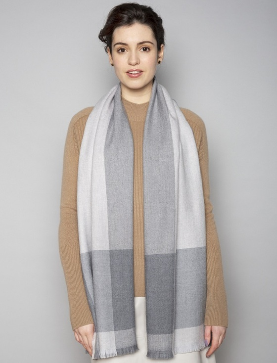 Cashmere Lambswool Stole - Pearl Ox Mink