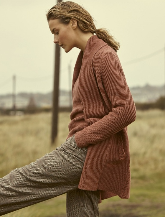 Luxe Light Wool Aran Cable Cardigan - Red Clay