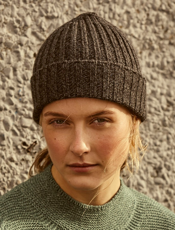 Ribbed Merino Wool Hat - Anthracite