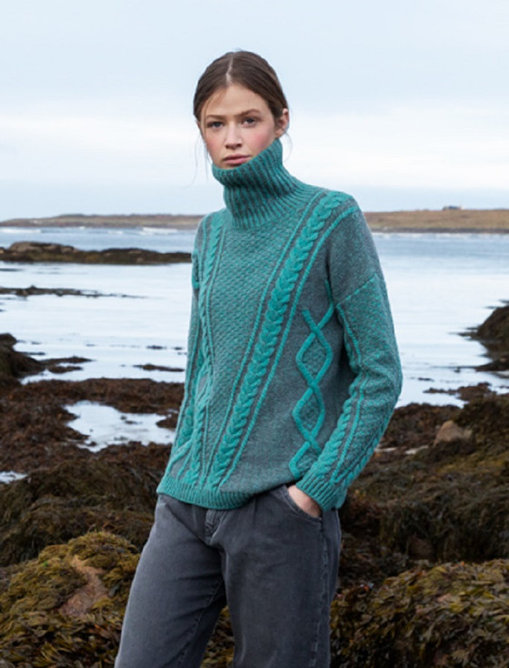 Women's Aran Plated Sweater - Jade