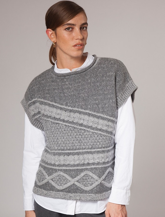 Women's Sleeveless Cable Aran Sweater - Limestone