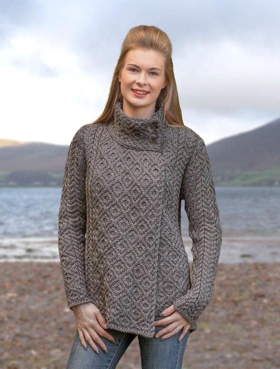 Women's Two Button  Aran Cardigan