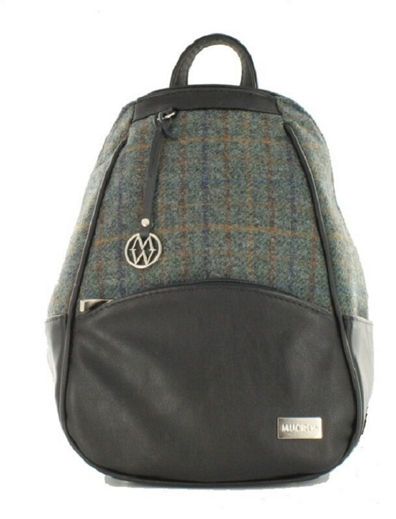 Tweed & Leather Colleen Backpack Green & Brown Plaid