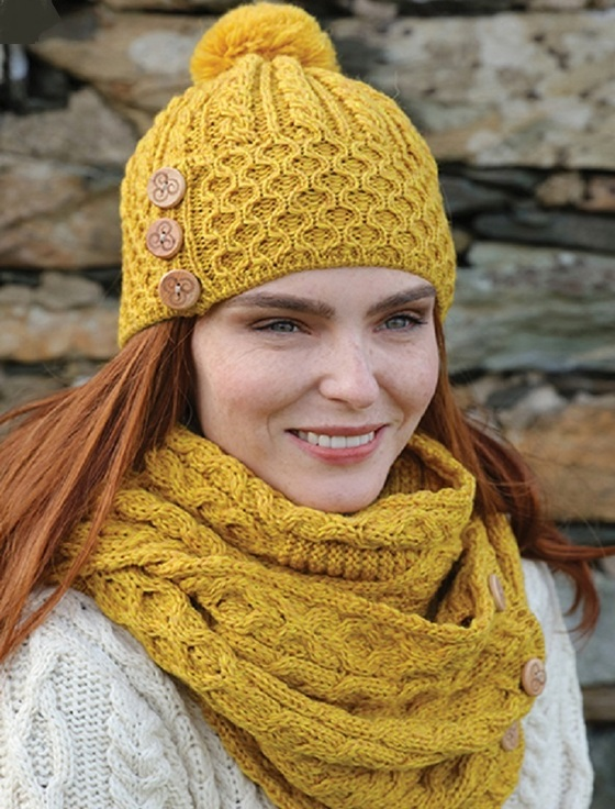 Merino Pom Pom Hat & Snood Scarf Bundle - Sunflower Yellow