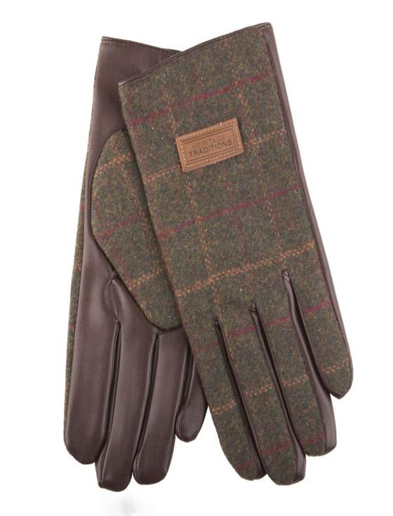 Mens Tweed Gloves - Green Box Check