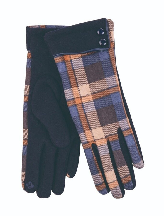 Ladies Tweed Gloves- Navy Check