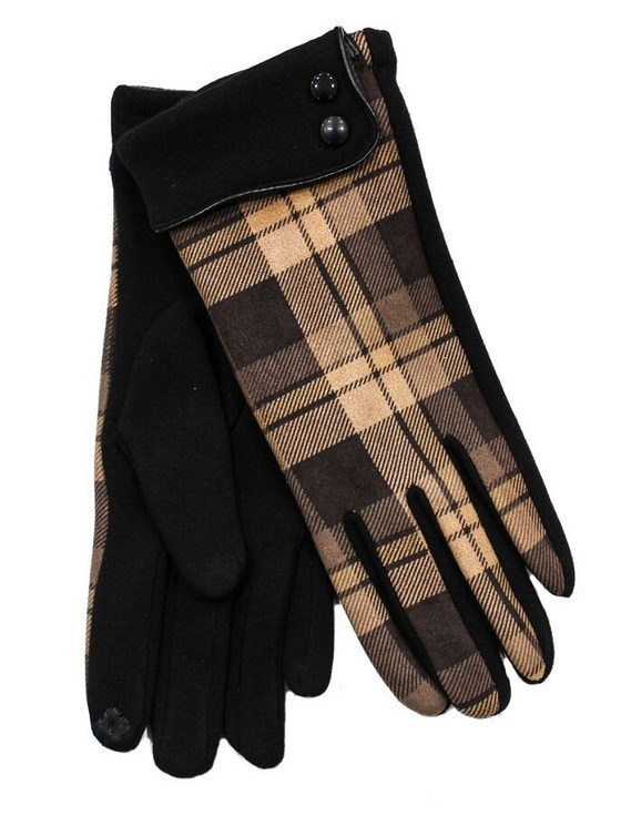 Ladies Tweed Button Cuff Gloves- Black Check