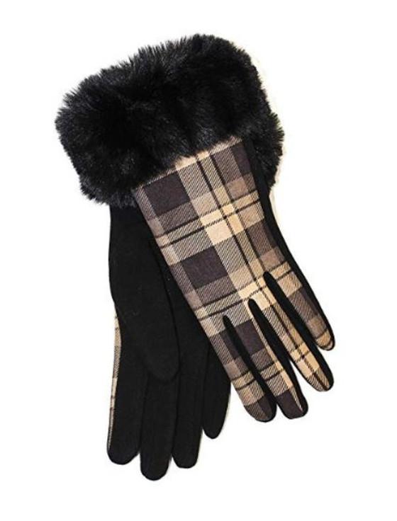 Ladies Faux Fur Trim Gloves- Black Box Check